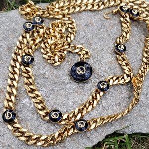 Designer St.John Navy Enamel Gold Chain Belt S